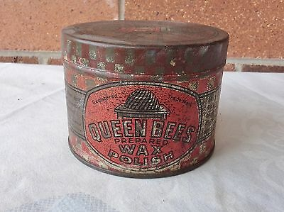 VINTAGE QUEEN BEES POLISH WAX 12oz TIN ADVERTISING PACKET