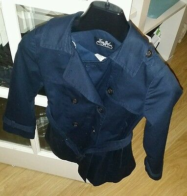 Girls 4-5years Zara Blue Belted Trench Coat Jacket