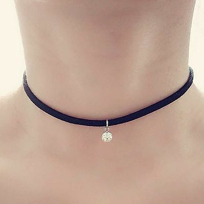 Black Suede Cord Rhinestone Pendant Choker Crystal Charm Necklace Retro Hippy
