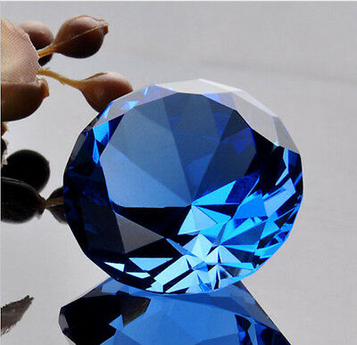 Blue big crystal glass faceted diamond paper weight 60 mm