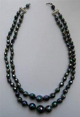 Vintage 1930's (Approx) 2-String Facetted Carnival Glass Crystal Necklace