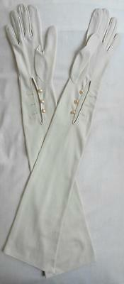 Vintage 1950's Long Cream Evening Gloves Size 6 1/2-7, S-M Narrow Fit  Downton