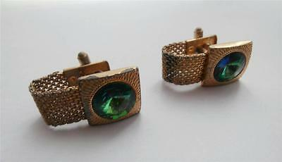 Vintage 1970's Square Gold Metal & Green Glass & Chain Cufflinks Prom Evening