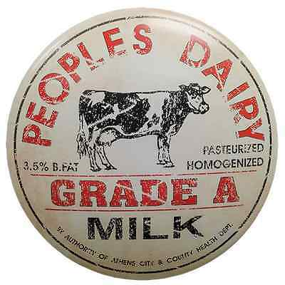 "Vintage~PEOPLES DAIRY~Advertising Sign 12"" Tin Cow Farm Kitchen Decor"