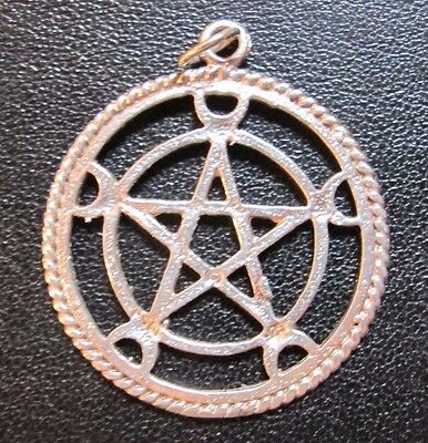 Sterling Silver Crescent Moon Circle Pentacle Pendant Pentagram Charm Wicca