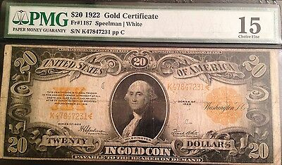 1922 $20 Gold Certificate Pmg 15 Choice Fine $20 In Gold Coin Old Currency