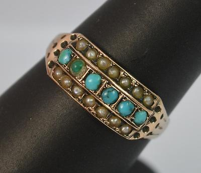 1896 Victorian Turquoise & Pearl 9ct Rose Gold Cluster Ring t0738