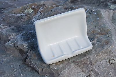 vtg industrial porcelain SOAP DISH wall mount for school, barn, loft USA made