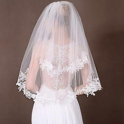 Beautiful 2 Layer White/Ivory Elbow Lace Edge Wedding Bridal Veil With Comb