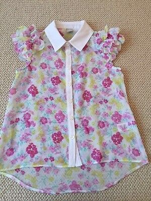 Girls pretty floral ruffled sleeved blouse age 4