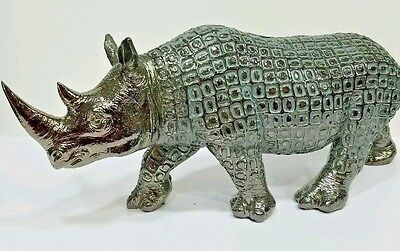 Modern Pewter Electroplated Rhinoceros Statue Rhino Protective Home Decor
