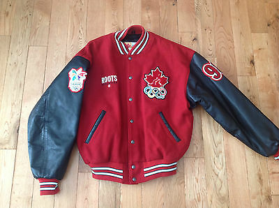 Red Wool Leather Jacket Size L 1998 Canada Nagamo Olympic Games Official Jacket