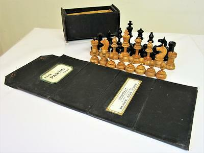 ANTIQUE EARLY 20th C. INTERESTING GERMAN TRAVEL-CAMPAIGN  CHESS SET +BOX & BOARD