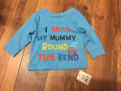 Baby Boys Long sleeve top - Age 0-3 months, Drive my mummy round the bend BNWT