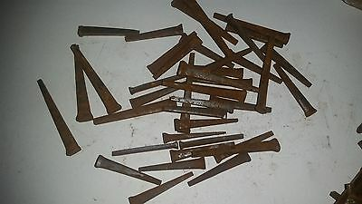 "35+ Lot 1 1/2"" to 2"" Wrought Head nails old square  rustic vintage look"