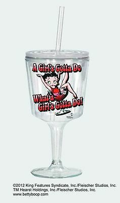 BETTY BOOP Girls Insulated ACRYLIC Goblet w/ Lid & Straw, NIB #16803 Spoontiques