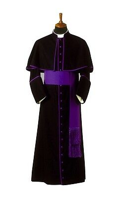 cassock with attached shoulder cape / priest cassock with purple trim