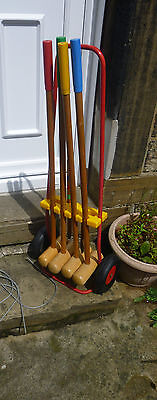 Vintage Childs Wooden Croquet Set Outdoor Games Complete Portable Trolly