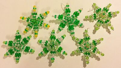 6 Handmade Plastic Bead Christmas Six Point Star Ornaments