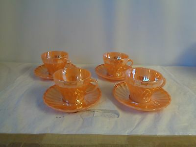 Cup and Saucer x4 Anchor Hocking Fire King USA Orange Peach Swirl Lustre Glass