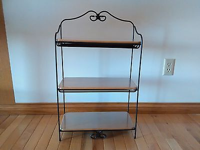 Longaberger USA Wrought Iron Bread Basket Rack with Warm Brown Shelves NEW
