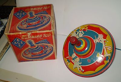 VINTAGE 1950s AUSTRALIAN MADE ACE TIN TOY SPINNING TOP IN BOX