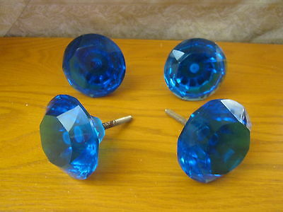 "4 Large  Cut Glass Knobs, Diamond ,2.1/2"" diameter Blue- Cabinets/drawers"