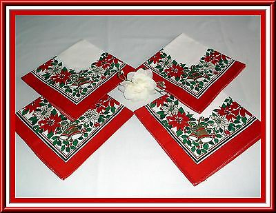 Lovely Vintage Christmas Holiday Napkins By Sunweave Poinsettias And Bells