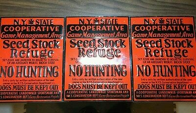 (3) Rare Vintage Metal 1940's NY State Cooperative Hunting Signs - Barn Find