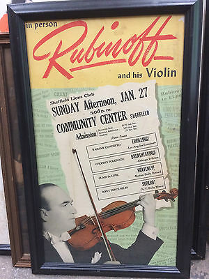 VINTAGE RUBINOFF  and his Violin CONCERT POSTER AD FRAMED 1900'S SHEFFIELD LIONS