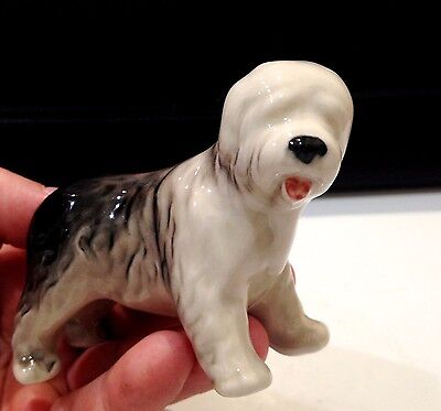Old English Sheepdog porcelain dog figurine realistic Souvenirs from Russia