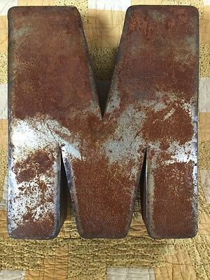 "Letter M Industrial Steam Punk Rusty Rustic Metal Sign 15"" Large Vintage"