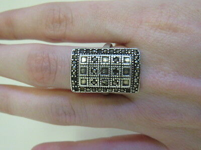 Square Rectangle Ring Stamped Sterling Silver 925 Size 6.5 Jewellery 6.88g