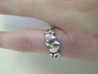 Hearts Ring Stamped Sterling Silver 925 Size 3.5 Jewellery 2.13g