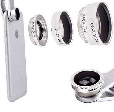 3 in1 Clip On Cell Phone Camera Lens Kit Fisheye + Wide Angle + Macro