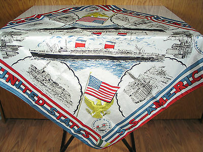 SS UNITED STATES SS AMERICA SILK SCARF CIRCA 1950s UNITED STATES LINES 17798