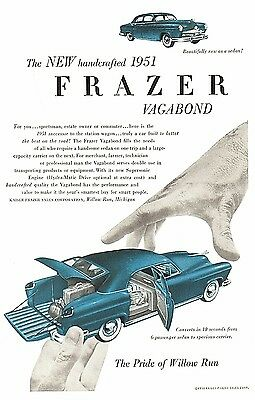 1950 FRAZER VAGABOND 1951 AUTOMOBILE~PRIDE OF WILLOW RUN~Print Ad