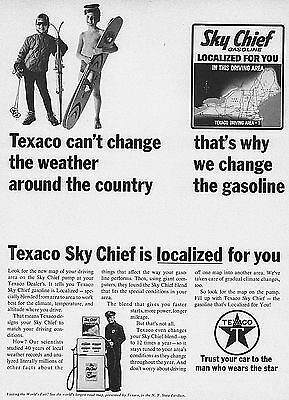 """1964 Ad Texaco Sky Chief Localized Gasoline Weather Changes Print Ad 10""""x13"""""""