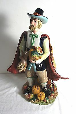 "Fitz And Floyd Harvest Heritage 18"" Tall Male Pilgrim In Box Thanksgiving"