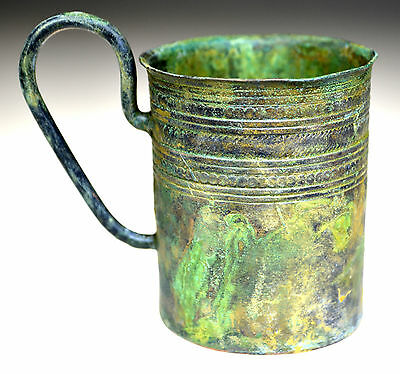 Roman Bronze Drinking Cup with Handle