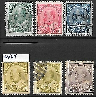 CANADA 1903 – 6 stamps, Ed.VII, 5 used, 1 mounted mint