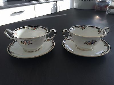 2 Wedgwood Osborne 2 Handled Soup/Consomme Cups/Bowls & Saucers Perfect