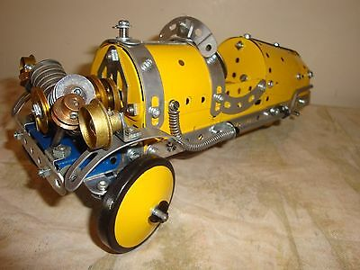 ANTIQUE MORGAN 1930s VINTAGE STYLE RACING CAR IN YELLOW RECONDITIONED MECCANO