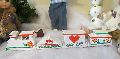 "Christmas train handpainted 8"" long WOOD wooden home made"