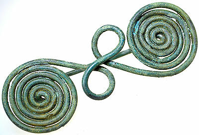 Large Viking Bronze Spiral Brooch Fibula