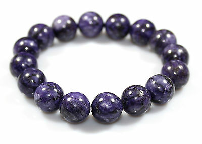 12 MM Natural Rare Purple Sugilite Bracelet Stretch Armband Bead Christmas Gift