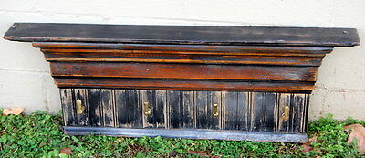 Vintage Reclaimed Wood Antique Hardware Coat Hook Shelf, Architectural Salvage