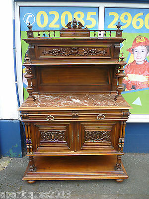 Fantastic Looking Antique Walnut Marble Top Carved Buffet Server