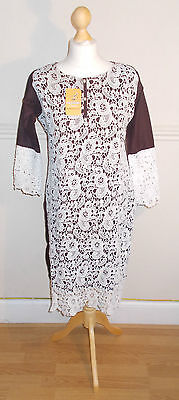 Ladies/Women/Girl's Pakistani/Indian Embroided Kurta/ Kurti/ Brown Color Crochet