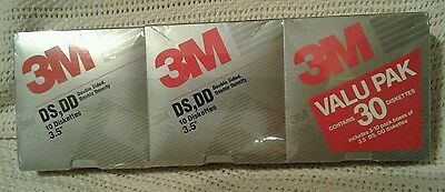 """3 Sealed Boxes of 10 3M Formatted  DS,DD Double Sided/Density 3.5"""" Diskettes"""